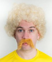 Funny Carlos Valderrama Football Fancy Dress Wig & Moustache